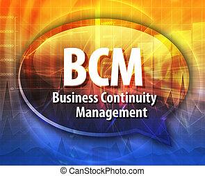 bcm, mot, acronyme, illustration, bulle discours