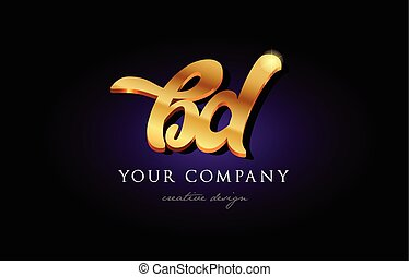 bd b d 3d gold golden alphabet letter metal logo icon design handwritten typography