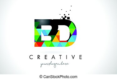 BD B D Letter Logo with Colorful Triangles Texture Design Vector.