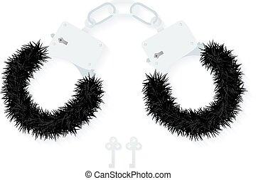 BDSM fluffy handcuffs, bondage element to immobilize...
