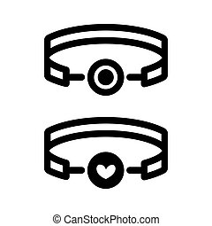 BDSM gag simple vector icon. Black and white illustration of toy. Outline linear adult icon.