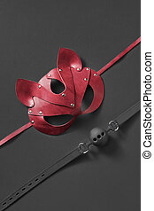 BDSM mask and ball gag. - Sexual BDSM attributes - red ...
