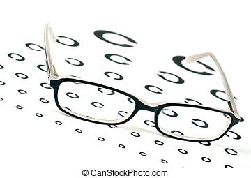 beäugen diagramm, schwarz, anblick- test, brille