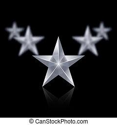 beékel, alakít, öt, csillaggal díszít, fekete, ezüst