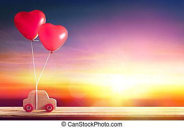 beérkező, autó, valentines, -, piros, léggömb, nap