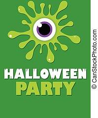 bełkotać, lotnik, halloween, zielone oko