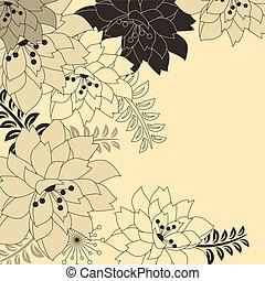 beżowe tło, kwiatowy, szykowny, kwiaty, kontur