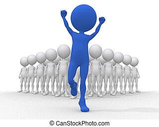 (be, affari, fondo, isolato, squadra, direzione, different), concetto, bianco