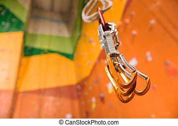 Close up of special climbing equipment in a gym