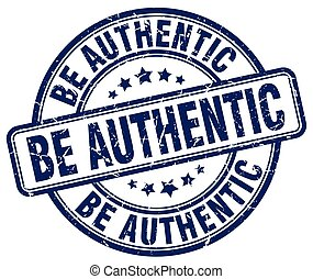 be authentic blue grunge stamp