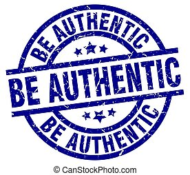 be authentic blue round grunge stamp