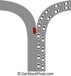 Be different concept with cars on road