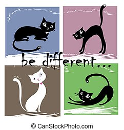 Be different,one white and three black cat on a colored background,