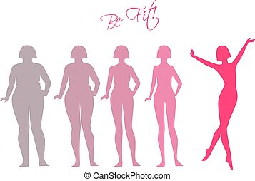 Be fit, woman silhouette images - Vector illustration of Be...