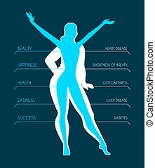 Be fit, woman silhouette images - illustration of Be fit,...