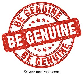 be genuine red grunge stamp