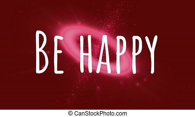 Be happy on red background