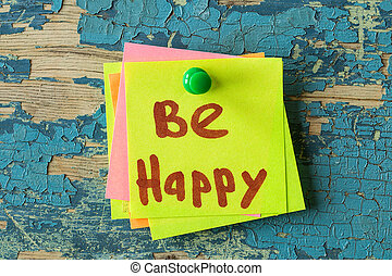 BE HAPPY text written on sticky note