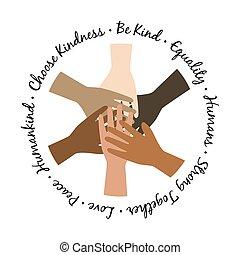 Be kind unity hands symbol. Black Lives Matter Illustration with hands equality symbol.