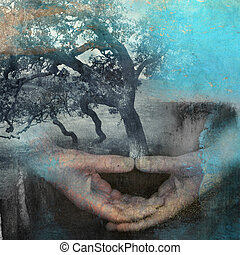Be Life - Mixed medium photo based illustration of hands in...