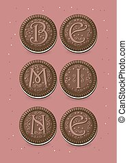 Be mine. Chocolate cookies with graceful decor. Colorful...