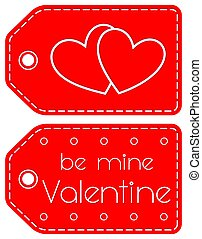 Be mine valentine heart circle red tag set