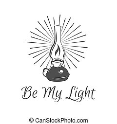 Kerosene lamp. Vintage paraffin lamp. Doodle style. Isolated...