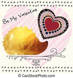 Be my Valentine. A gold hedgehog.  Vector Illustration