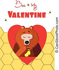 Be my valentine card of cute bear eat honey in red heart