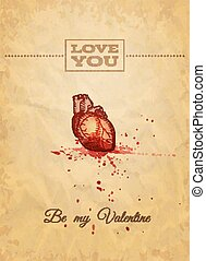 Be My Valentine Card with Anatomy Sketch. Vector illustration, eps10.