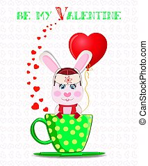 Be my Valentine card with cute cartoon bunny in  hat