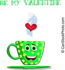 Be my valentine card with cute cartoon green coffee mug