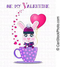 Be my Valentine card with cute rabbit in violet knitted hat