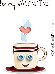 Be my valentine card with cute steaming brown cup