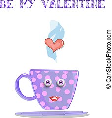 Be my valentine card with cute steaming lilac cup