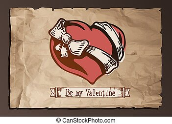 Color vector illustration of Valentine heart with a bow-knot on purple background