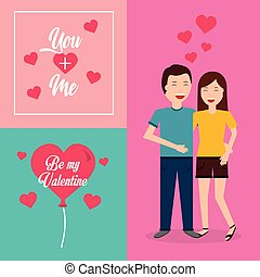 be my valentine couple smiling hugging card