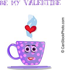 Be my valentine cute cartoon female cup character