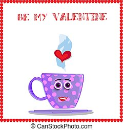 valentine greeting card with cute cartoon lilac cup