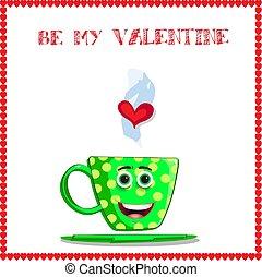 Be my valentine greeting card with cute cartoon mug