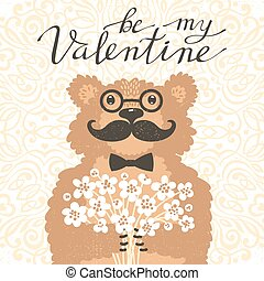 Be my Valentine Hipster bear with a bouquet of flowers. Vintage card in cartoon style.