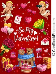 Be My Valentine, love hearts, cupids and flowers