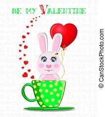 Be my Valentine post card with cute bunny with red balloon