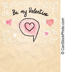 Be My Valentine Sketchy Card with Hearts. Vector illustration, eps10.