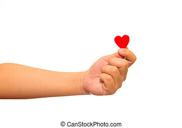 Man holding red paper heart in his hands