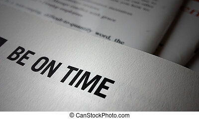 Be on time word on a book