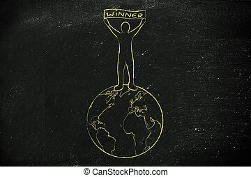 be on top of the world: man with Winner banner - person...