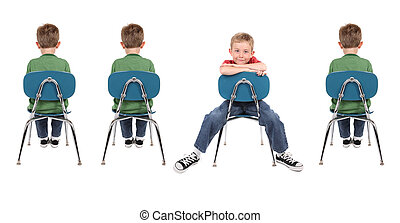 Be original - A group of boys sit in a row in school chairs...