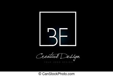 BE Square Frame Letter Logo Design with Black and White Colors.