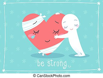 be strong - illustration of giving hug to cheer up friend